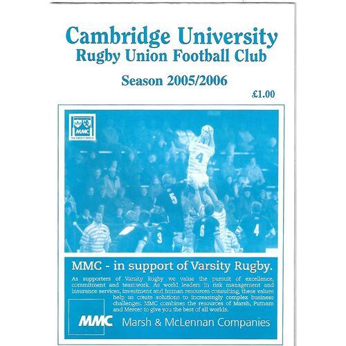 2005/06 Cambridge University v London Welsh (01/11/2005) Rugby Union Programme