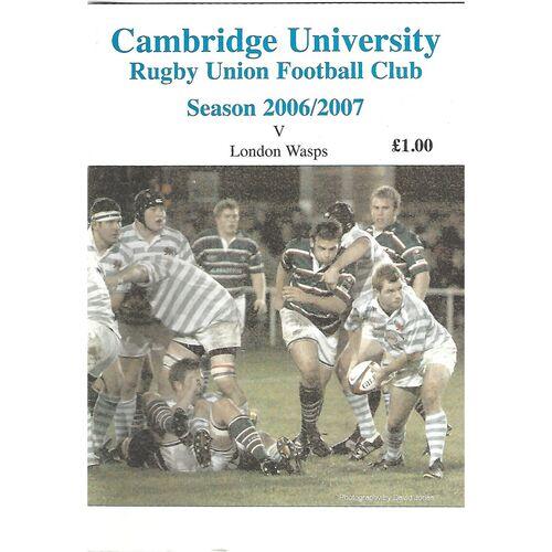2006/07 Cambridge University v London Wasps (30/10/2006) Rugby Union Programme