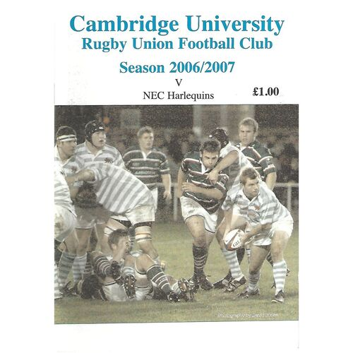 2006/07 Cambridge University v NEC Harlequins (06/11/2006) Rugby Union Programme
