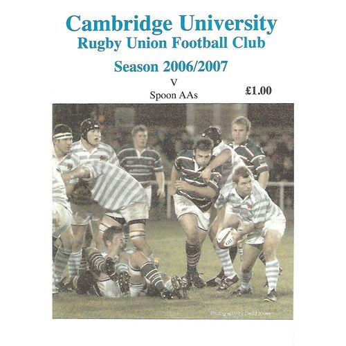 2006/07 Cambridge University v Spoon AA's (28/02/2007) Rugby Union Programme & Spoon AA's 2006/07 Season Brochure