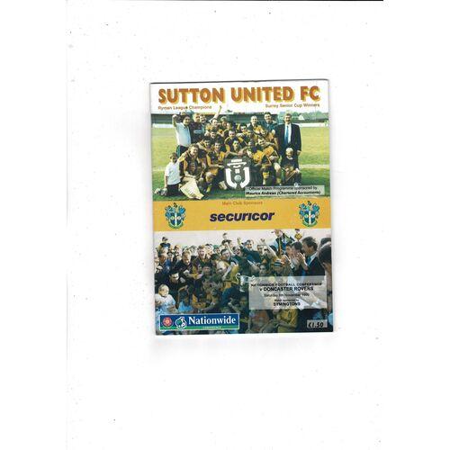 Sutton United Home Football Programmes