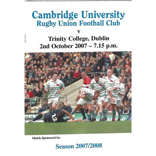 2007/08 Cambridge University v Trinity College Dublin (02/10/2007) Rugby Union Programme