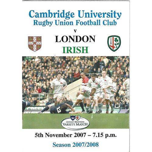 2007/08 Cambridge University v London Irish (05/11/2007) Rugby Union Programme