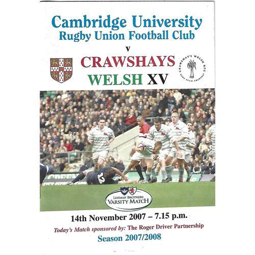 2007/08 Cambridge University v Crawhay's Welsh XV (14/11/2007) Rugby Union Programme