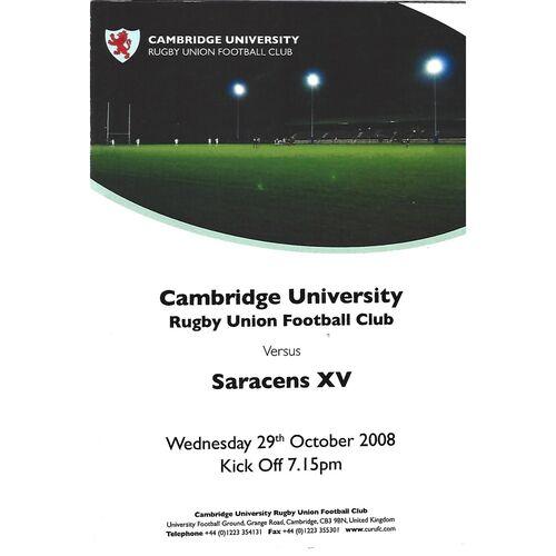 2008/09 Cambridge University v Saracens XV (29/10/2008) Rugby Union Programme