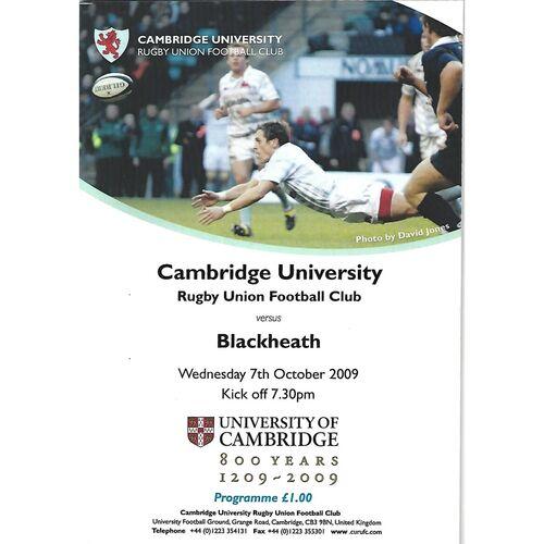 2009/10 Cambridge University v Blackheath (07/10/2009) Rugby Union Programme