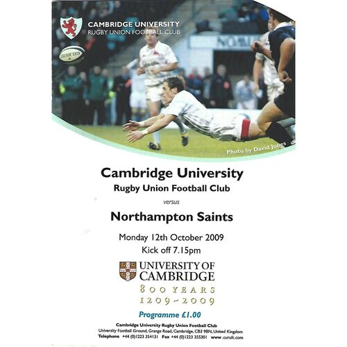 2009/10 Cambridge University v Northampton Saints (12/10/2009) Rugby Union Programme