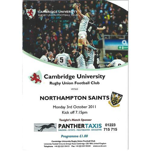 2011/12 Cambridge University v Northampton Saints (03/10/2011) Rugby Union Programme