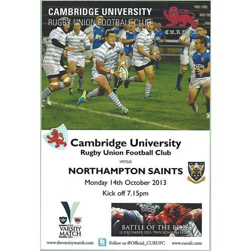 2013/14 Cambridge University v Northampton Saints (14/10/2013) Rugby Union Programme