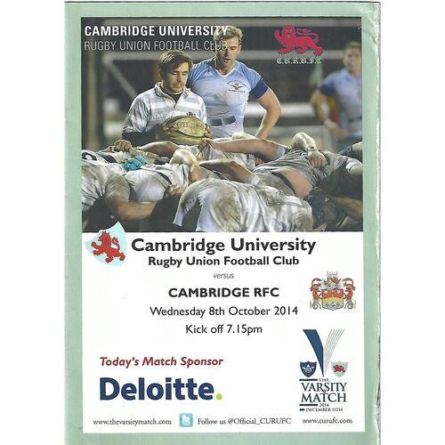 2014/15 Cambridge University v Cambridge (08/10/2014) Rugby Union Programme & 2014 Home Fixture List
