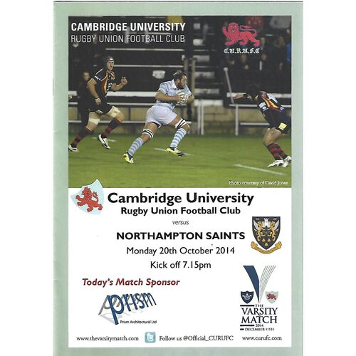 2014/15 Cambridge University v Northampton Saints (20/10/2014) Rugby Union Programme & Home Fixture List