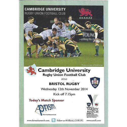 2014/15 Cambridge University v Bristol Rugby (12/11/2014) Rugby Union Programme