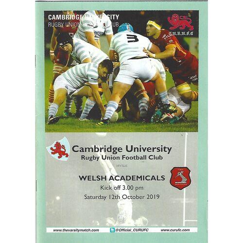 2019/20 Cambridge University v Welsh Academicals (12/10/2019) Rugby Union Programme