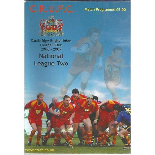 2006/07 Cambridge v Esher (14/04/2007) Rugby Union Programme