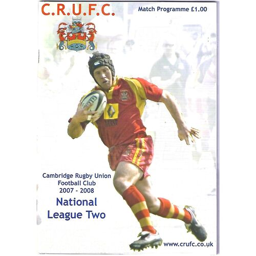 2007/08 Cambridge v Rotherham Titans 4th Round EDF National Trophy (12/01/2008) Rugby Union Programme