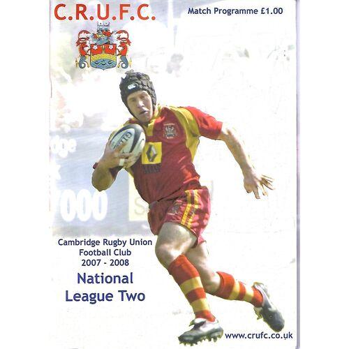 2007/08 Cambridge v Westcombe Park (15/03/2008) Rugby Union Programme