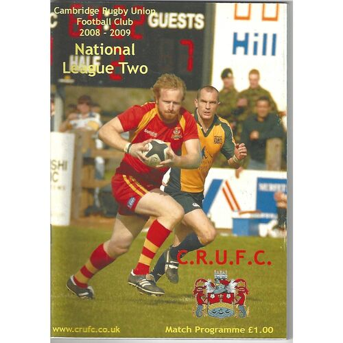 2008/09 Cambridge v Wharfedale (01/11/2008) Rugby Union Programme