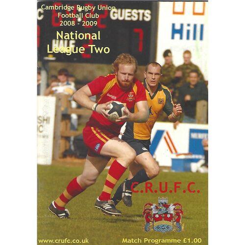 2008/09 Cambridge v Waterloo (21/02/2009) Rugby Union Programme
