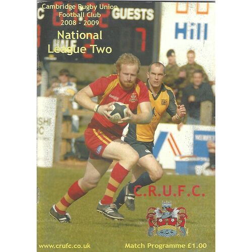 2008/09 Cambridge v Tynedale (21/03/2009) Rugby Union Programme