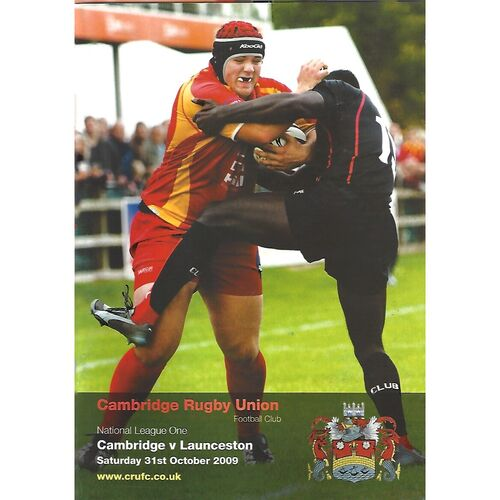 2009/10 Cambridge v Launceston (31/10/2009) Rugby Union Programme