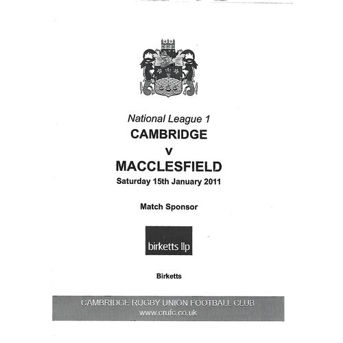 2010/11 Cambridge v Macclesfield (15/01/2011) Rugby Union Programme