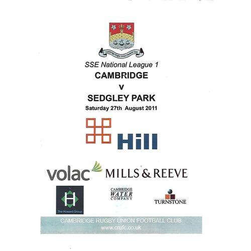 2011/12 Cambridge v Sedgley Park (27/08/2011) Rugby Union Programme