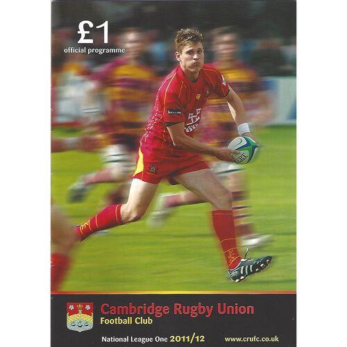 2011/12 Cambridge v Blaydon (09/12/2011) Rugby Union Programme & Loose Team Sheet