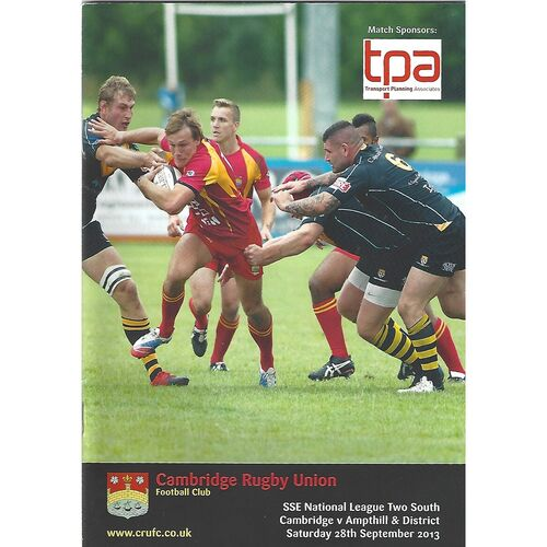2013/14 Cambridge v Ampthill & District (28/09/2013) Rugby Union Programme