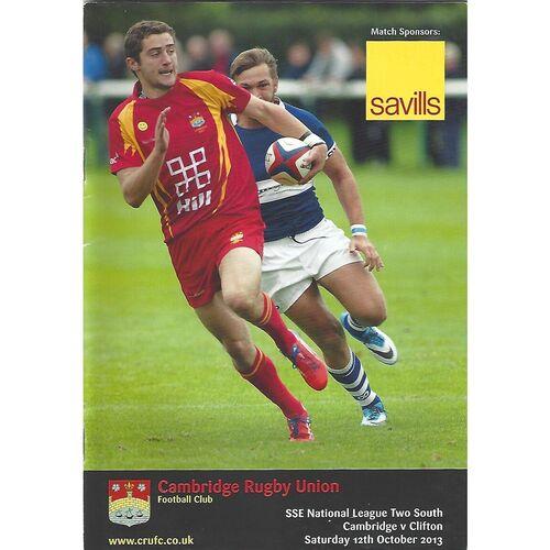 2013/14 Cambridge v Clifton (12/10/2013) Rugby Union Programme
