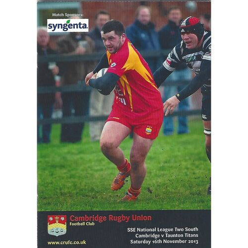 2013/14 Cambridge v Taunton Titans (16/11/2013) Rugby Union Programme
