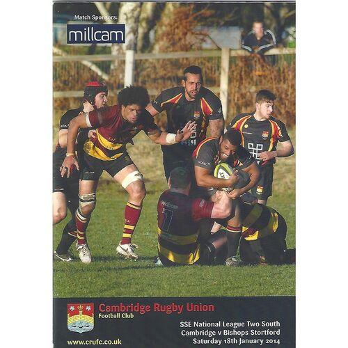 2013/14 Cambridge v Bishops Stortford (18/01/2014) Rugby Union Programme