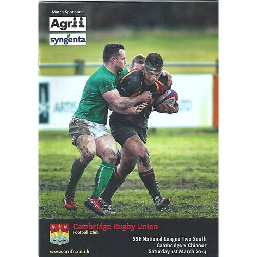 2013/14 Cambridge v Chinnor (01/03/2014) Rugby Union Programme