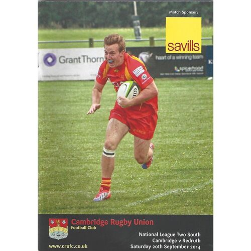 2014/15 Cambridge v Redruth (20/09/2014) Rugby Union Programme