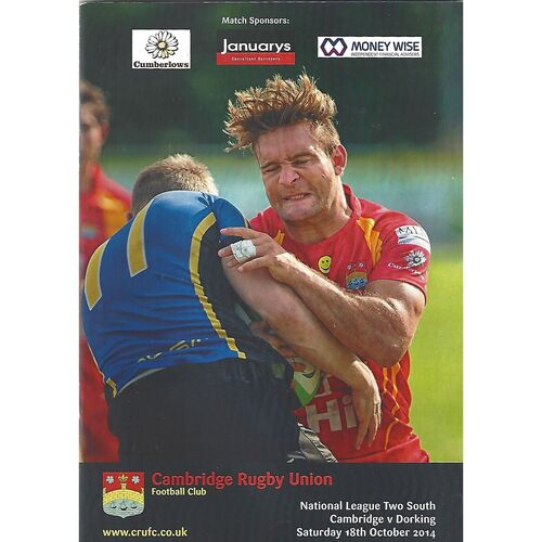2014/15 Cambridge v Dorking (18/10/2014) Rugby Union Programme