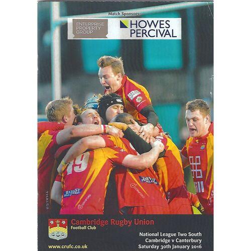 2015/16 Cambridge v Canterbury (30/01/2016) Rugby Union Programme