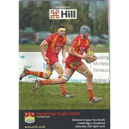 2015/16 Cambridge v Southend (16/04/2016) Rugby Union Programme