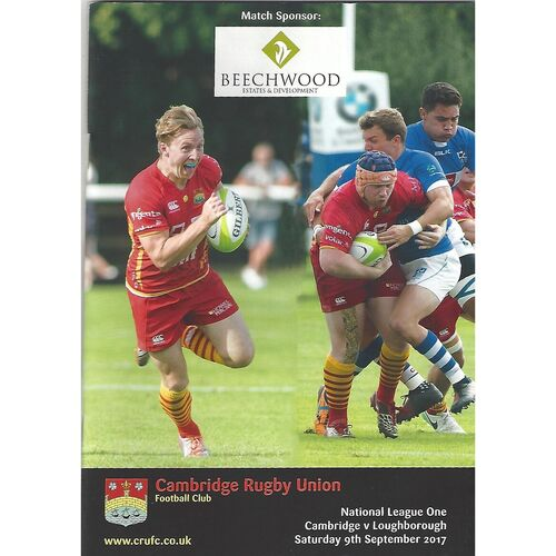 2017/18 Cambridge v Loughborough (09/09/2017) Rugby Union Programme