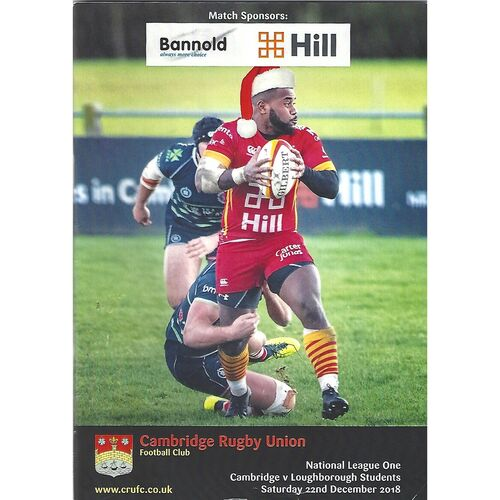 2018/19 Cambridge v Loughborough Students (22/11/2018) Rugby Union Programme