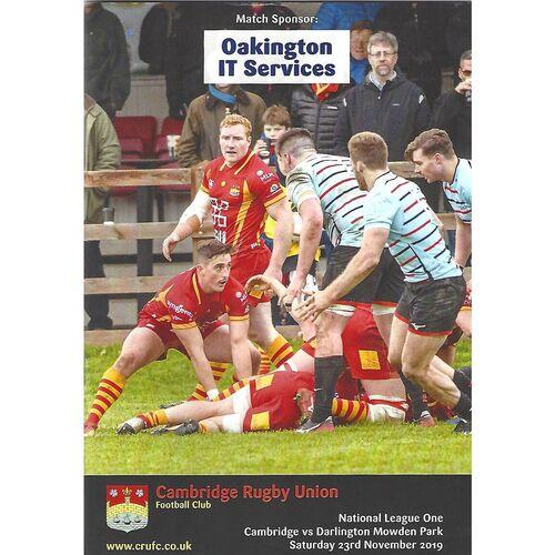 2019/20 Cambridge v Darlington Mowden Park (23/11/2019) Rugby Union Programme