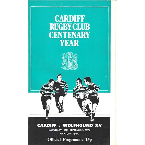 1976/77 Cardiff v Wolfhound XV (11/09/1976) Rugby Union Programme