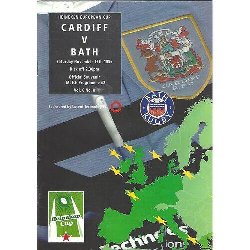 1996/97 Cardiff v Bath Heineken European Cup Quarter Final (16/11/996) Rugby Union Programme
