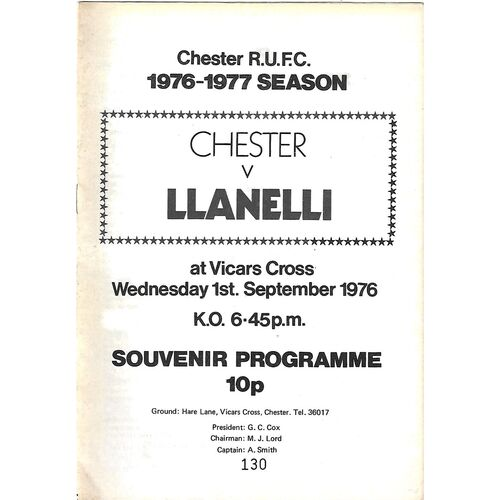 1976/77 Chester v Llanelli (01/09/1976) Rugby Union Programme