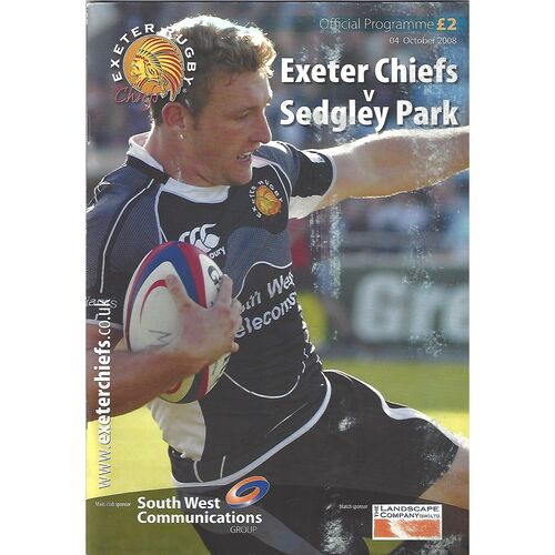 2008/09 Exeter Chiefs v Sedgley Park (04/10/2008) Rugby Union Programme