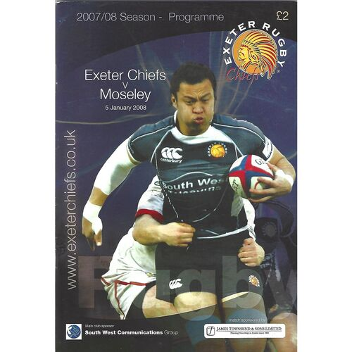 2007/08 Exeter Chiefs v Moseley (05/01/2008) Rugby Union Programme
