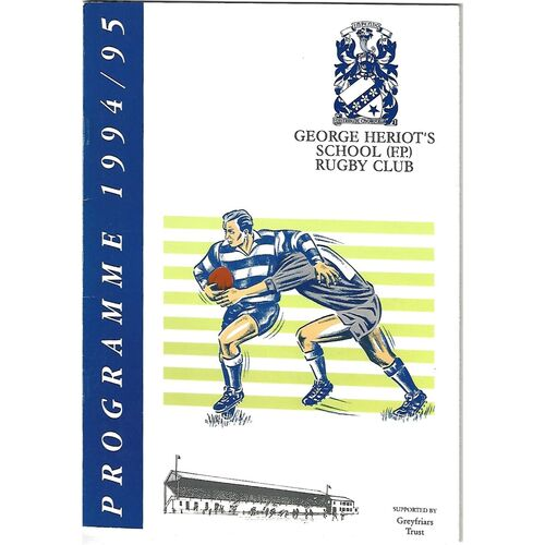 1994/95 George Heriot's School v Glasgow High/Kelvinside (17/09/1994) Rugby Union Programme