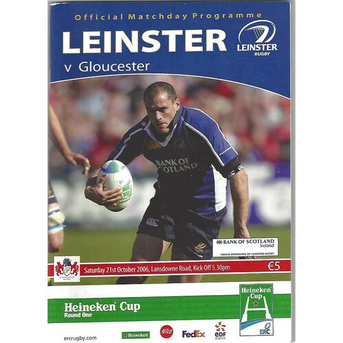 2006/07 Leinster v Gloucester Heineken Cup 1st Round (21/10/2006) Rugby Union Programme & Brian O'Driscoll Pullout