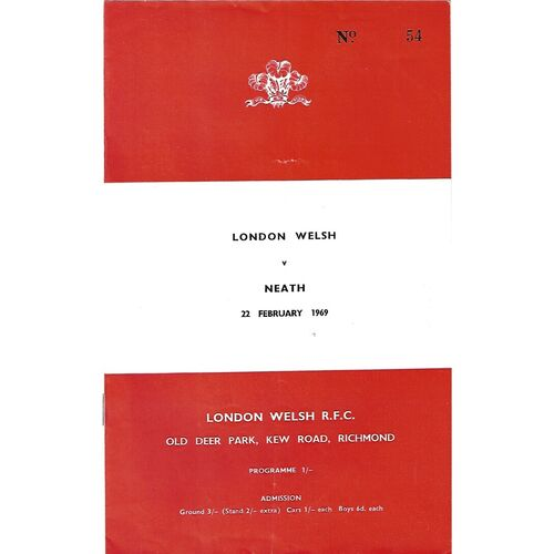 1968/69 London Welsh v Neath (22/02/1969) Rugby Union Programme