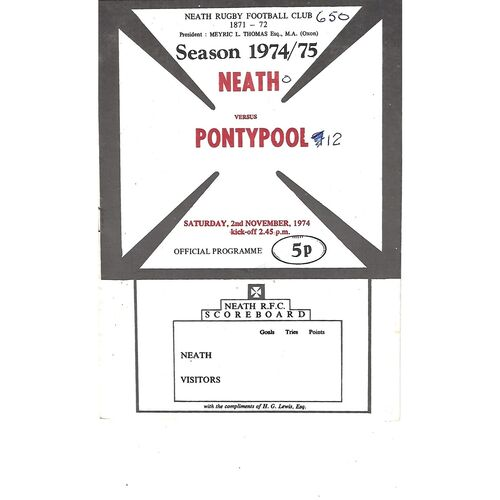 1974/75 Neath v Pontypool (02/11/1974) Rugby Union Programme