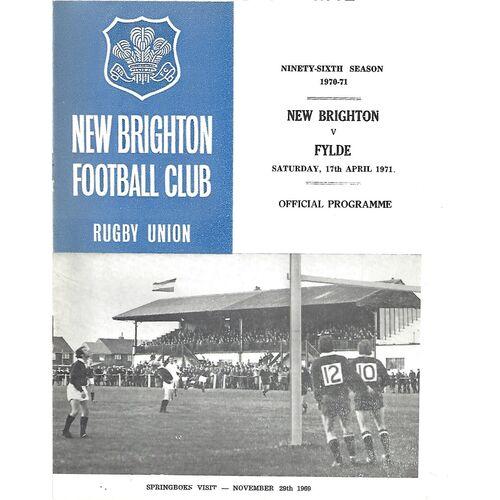 1970/71 New Brighton v Fylde (17/04/1971) Rugby Union Programme