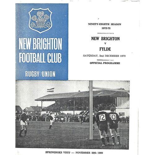 1972/73 New Brighton v Fylde (02/12/1972) Rugby Union Programme